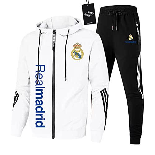 JesUsAvila de Los Hombres Chandal Conjunto Trotar Traje Real-Madrid Hooded Zipper Chaqueta + Pantalones Deporte Sudadera Suéter de Los Hombres/Blanco/L