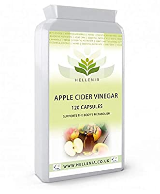 Hellenia Apple Cider Vinegar 500mg - 120 Capsules - Support the body's metabolism from Life Source Supplements Ltd