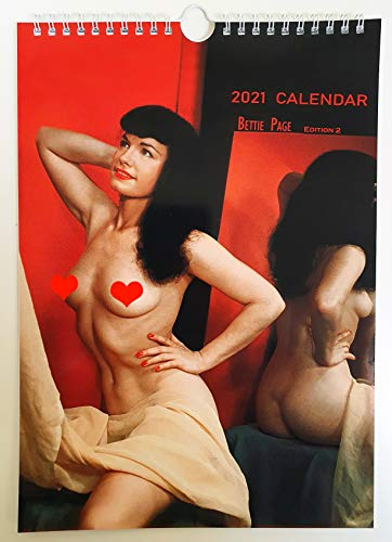 Bettie Page Color Wall Calendar New 2021 Pin Up Glam Girl Retro Vintage A4