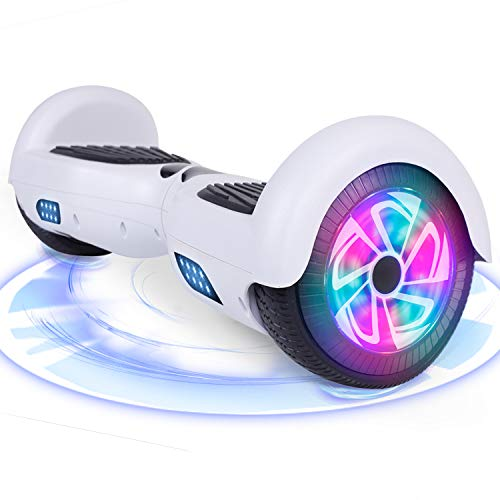 "Huanhui Hoverboard, 6.5"" Self Balance Scooter con luci a LED Altoparlante Bluetooth Ruote Lampeggianti Segway, Regalo per Bambini e Adulti"