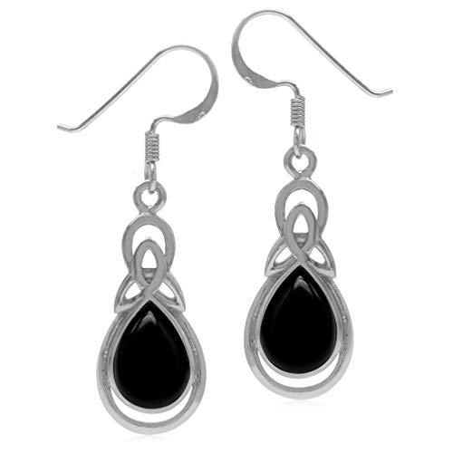 Silvershake Genuine Pear Shape Black Onyx 925 Sterling Silver Triquetra Celtic Knot Drop Dangle Hook Earrings