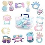 14pcs Rassel Beißring Set Baby Spielzeug Shaker Greifen Rassel Baby Kleinkind Spielzeug Frühe Lernspielzeug für 3 6 9 12 Monate Jungen Mädchen Baby Geschenke