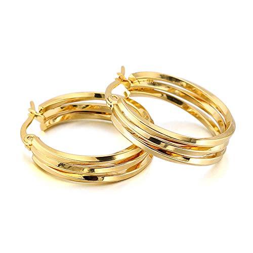 Pendientes de alambre cuadrado de círculo de acero de titanio de moda Pendientes de alambre trenzado de tres círculos de acero inoxidable Par de colores de acero y joyería