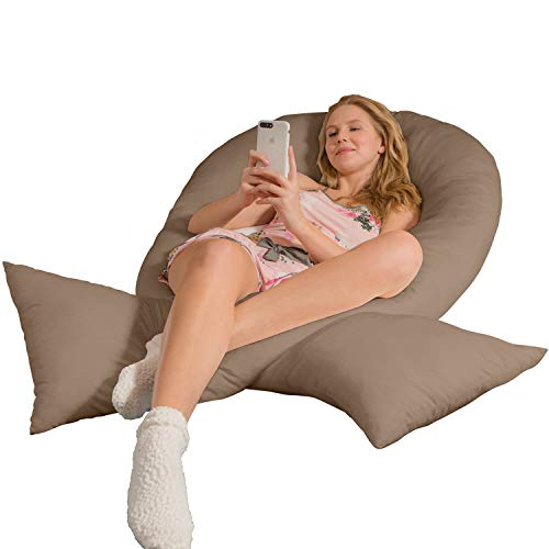Traumreiter Jumbo XXL - Almohada para dormir de lado con funda de color marrón claro I almohada para embarazadas