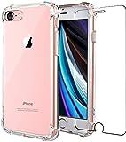 Carcasa para iPhone SE 2020, iphone 8, iphone 7, iphone 6, iphone 6s, protector de pantalla delgado absorción de choque reforzado en la esquina suave TPU silicona funda de TPU 4,7' transparente