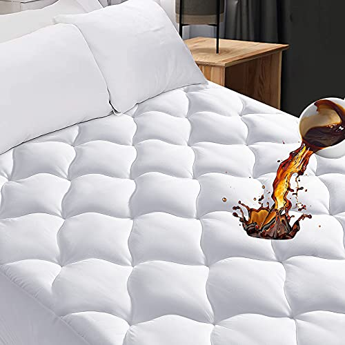 Queen Quilted Fitted Mattress Pad,100% Waterproof...