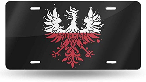 WSEDRF Polish Eagle Polska Poland Flag Novelty License Plate Cover Decorative Front License Plate Tag Sign Car Accessories 6x12 in