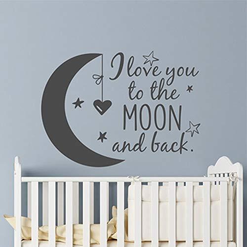 Geiqianjiumai Moon en sterren vinyl muur kinderkamer decoratie Ik hou je voor de maan en terug sticker