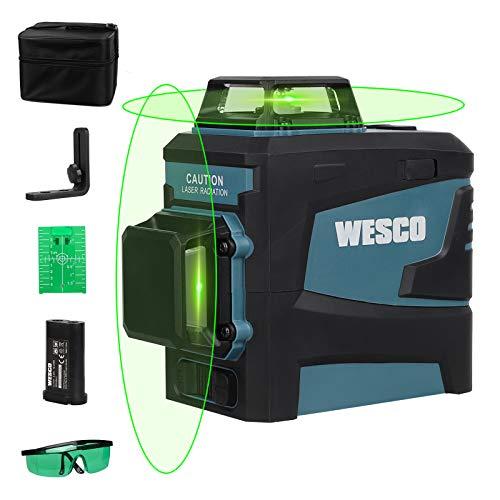 Kreuzlinienlaser, WESCO 2X 360° Kreuzlinienlaser Grün, 3D 8 Linien selbstnivellierendes Linienlaser, Laser Level mit manueller und automatischer Modus, inkl. Lithiumbatterie und Magnethalterung