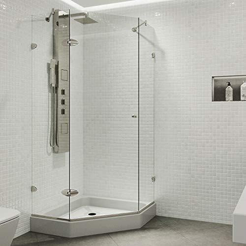 Product Image of the VIGO VG6061BNCL42W 42.13' -42.13'W -73.38'H Frameless Hinged Neo-angle Shower Enclosure with Clear 0.38' Tempered Glass Stainless Steel Hardware in Brushed Nickel Finish, Reversible Handle and Base