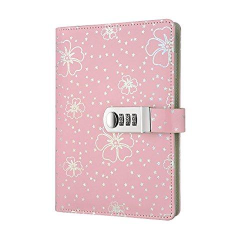 Diario de Cuero de Viajes ,cuaderno diario bloqueo de contraseña con cerradura diario ,Cuaderno secreto/Libreta de Viaje PU vintage TPN107,Rosa 145x210mm
