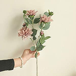 QWV Springs Flowers Artificial Silk Dahlia Bouquets Blooms with Buds Dahlia Floral Stems for Arrangements Centerpieces Bouquets Wedding Spring Easter Decoration