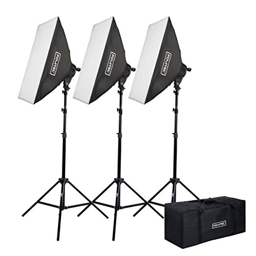 """Fovitec - 3-Light 6400W Fluorescent Lighting Kit for Photo & Video with 24""""x36"""" Softboxes, stands, & Carry Bag"""