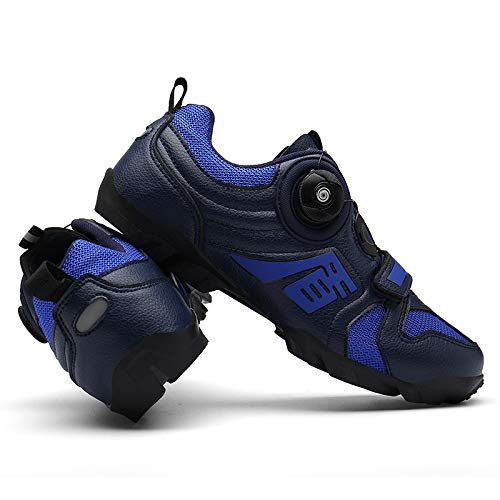 WYUKN Calzado para Bicicleta Calzado para Bicicleta de Montaña Sin Bloqueo para Hombre Calzado para Ciclismo de Carretera,Blue-41EU