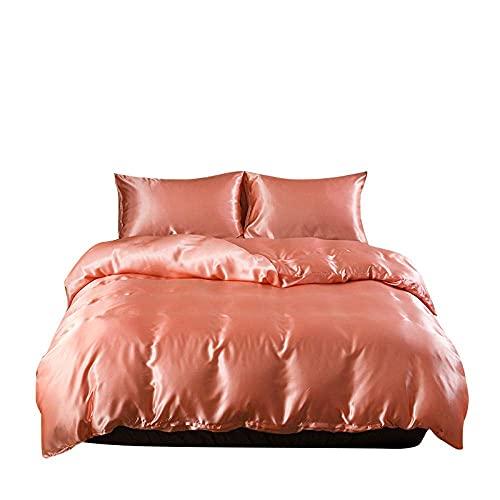 FMONH Luxury Satin Bedding Imitation Silk Bedding Set Soft Duvet Cover Queen King Bedding Pillowcases for Home Textile-05_Sheet 228x259cm