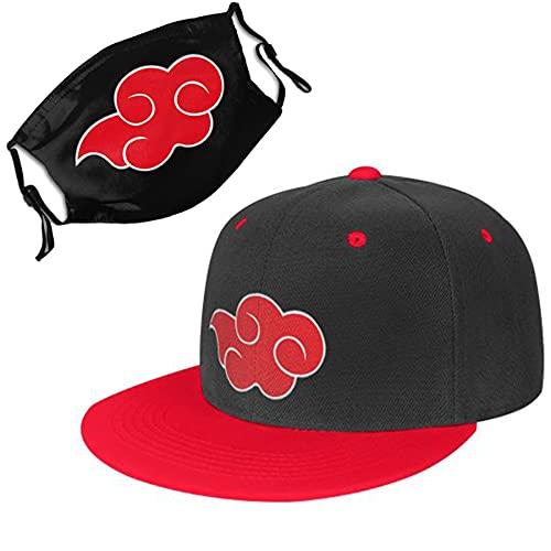 VEernrdtr Akatsuki Hat Adjustable Snapback Baseball Cap for Men, with Itachi Akatsuki Face Cover Red