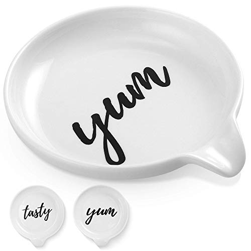 Oversized Spoon Rest for Kitchen - 2 Pack - White Ceramic Farmhouse Design for Cooking - Stove Top, Kitchen Counter, Countertop - Ladle Holder, Spoon Holder, Utensil Rest, Coffee Spoon Rest…