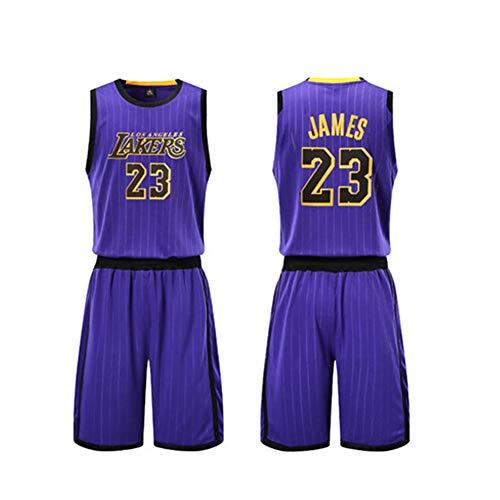Herren Basketballuniform James 23# Lakers Cavs Trikot, Profisportler Anzug Basketball Spieler Custom Jersey Trainingsanzug Wettkampf Set Weiche Athletic Trainingsshorts, Weiß XXS-XXXXXL-stripe-3XL