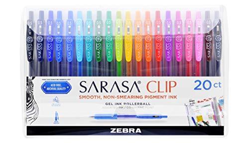 Zebra Pen Sarasa - Penne retrattili con inchiostro gel, punta fine 0,5 mm, colori assortiti, 20 pezzi