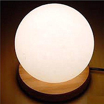 Himalayan Salt Lamp with Wooden Base - Sphere or Ball Shape -...