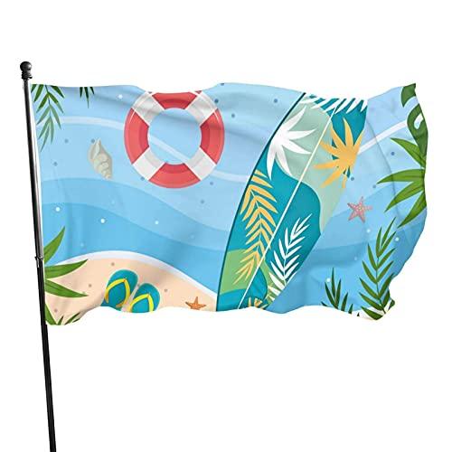 Bandera de playa para tabla de surf, para jardín, para interior y exterior, 3 x 5 pies, banderas de playa duraderas y resistentes a la decoloración con encabezado, fácil de usar