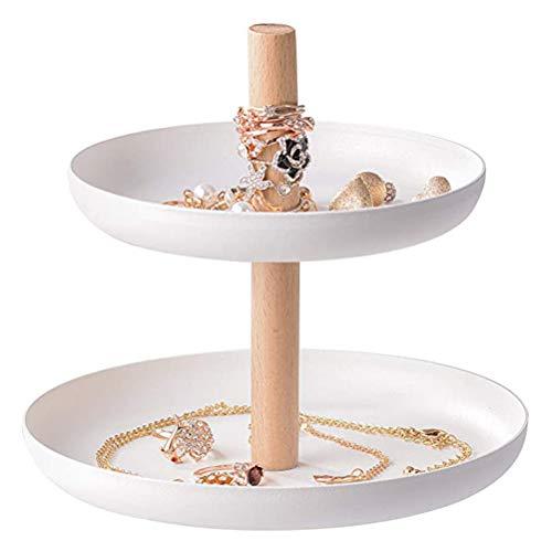 Ooscy Bandeja pequeña y fresca para joyas de escritorio de doble capa, soporte giratorio para pulsera, soporte para rack, pendientes, anillo de color blanco