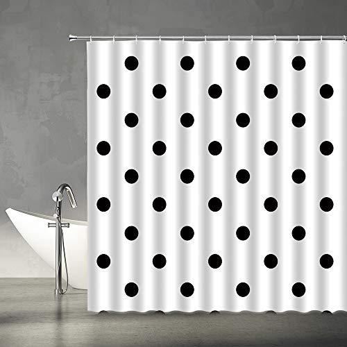 XZMAN Polka Dot Shower Curtain Black Classic Doodle White Retro Art Modern Fashion Fabric Bathroom Decor Set 70x70 Inches Include Hooks