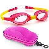 Kids Swim Goggles Swimming Goggles for Boys Girls Kid Age 2-10 Child Colorful Swim Goggles Clear Vision Anti Fog UV Protection No Leak Soft Silicone Nose Bridge Protection Case Kids' Skoogles