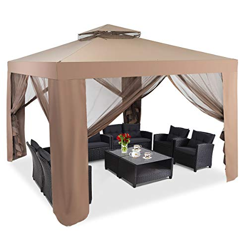 COSTWAY 3m x 3m Outdoor Gazebo, Waterproof Pavilion Canopy Tent with Zipped Mesh Side Walls, 2-Tier Roof Marquee Shelter for Patio, Backyard, Garden Event (Brown)