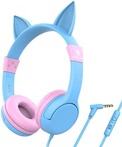 iClever BoostCare Kinder Kopfhörer, Katze Inspirierte Verdrahtete On Ear Headsets mit 85dB Volumen Begrenzt, Umweltfreundliches Silikon Material, 3,5 mm Audio Jack Kabel