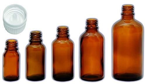 10 x 10ml Medizinflaschen, Apothekerflaschen, Tropferflaschen braun, 5ml, 10ml, 20ml, 30ml, 50ml, 100ml mit Tropfer, Tropfverschluss, Schraubverschluss Stockbottle (10ml, Tropfer)