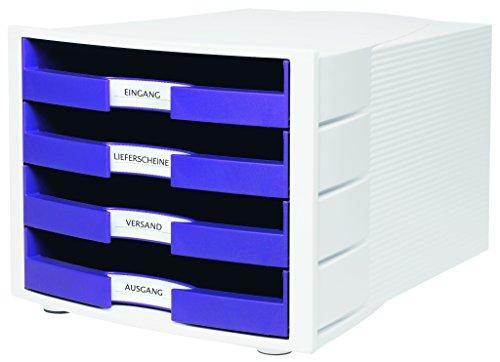 HAN Schubladenbox IMPULS in Lila/Weiß / Stapelbare Sortierablage mit 4 großen, offenen Schubladen für DIN A4/C4 / inkl. Beschriftungsschilder