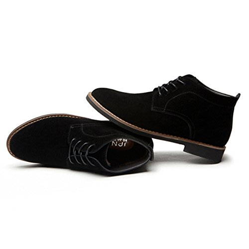 gracosy Suede Casual Shoes, Casual Desert Boots Loafers Flat Lace up Men's British Style High Top Classic Oxfords Shoes Men's Suede Ankle Shoes for Men and Women Black 6 UK