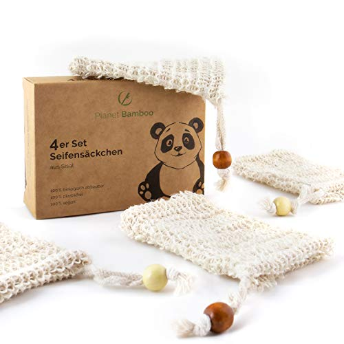 Planet Bamboo : Sac de Savon en sisal (4 pièces | Corde de Bois) Sac de Savon biodégradable fabriqué à partir des Fibres de la Plante d'agave Peeling & Storage
