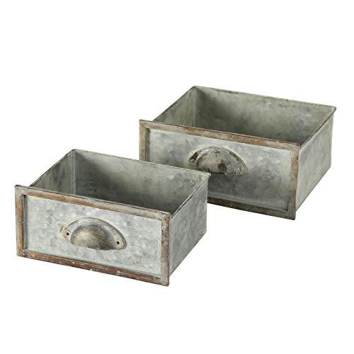 CasaJame Zink Pflanztopf Schubladen 2er Set Sortiert grüngrau antik Used Vintage Look Länge 20-22 cm Breite 16-20 cm Höhe 10-11 cm