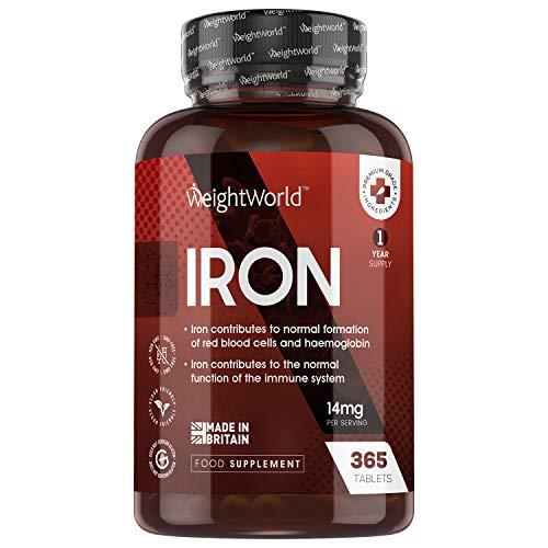 Fer Complément Alimentaire – 365 Comprimés de Fer 14 mg Vegan WeightWorld – Le Fer Contribue à Réduire la Fatigue (réf EFSA) - 1 an d'approvisionnement – Iron