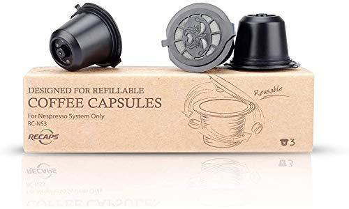 RECAPS Filtros reutilizables de cápsulas de café recargables compatibles con máquinas Nespresso Original Line, 3 unidades, color negro