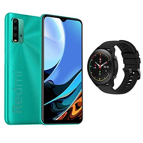 【日本正規代理店品】Xiaomi Miスマホ Redmi9T 日本語版 4GB+64GB スマートフォン本体 + Mi Watch (Redmi 9Tグリーン+Mi watchブラック)