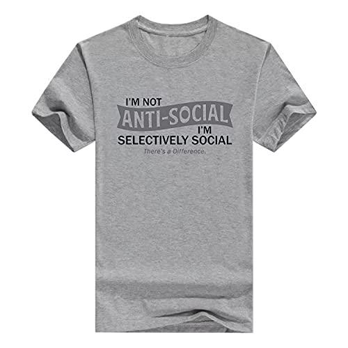 Llynice Camiseta divertida con texto en inglés «I'm Not Anti-Social I'm Selectivamente», gris, M