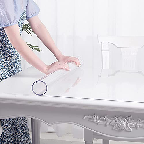 LKDF Mantel De Vinilo Transparente, Almohadilla Protectora Transparente Rectangular Impermeable, Mantel De Cristal para Mesa De Comedor,70x150cm/27.5x59in