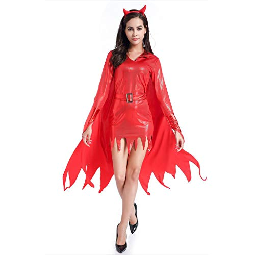 LOPILY Kostüme Damen Hexenkostüme Halloween mit Hornschmuck Rote Hexe Faschingskostüme Damen Karneval Kleidung Teufel Kostüme Gruselige Erwachsenenkostüme (Kleid+Umhang+Horn+Cane) (Rot, 36)