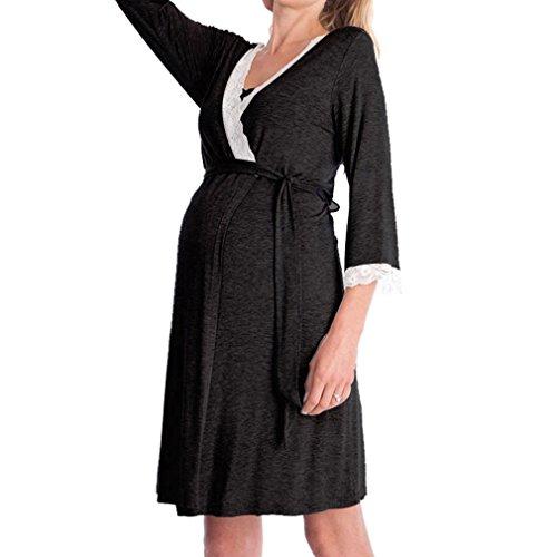 WEIMEITE Robe de maternité Nursery Nightdress pour l'allaitement de Nuit Chemise de Nuit Nouvelle arrivée Black-B S