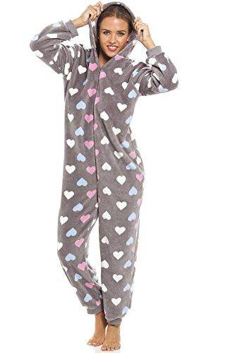 CAMILLE - Damen Schlafanzug-Overall mit Buntem Herzmuster - Sehr weich - Grau 42-44