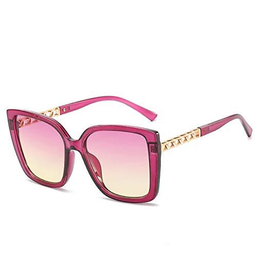 SHANGYUN Gafas de Sol cuadradas Hombre Mujer Moda Sombras UV400 Gafas Vintage Violeta