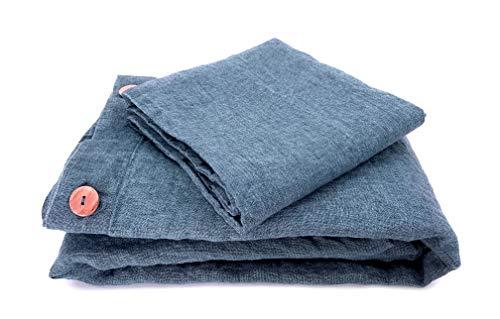 JOWOLLINA Juego de cama vintage de lino 100 % lavado a la piedra (Jeans Azul, 135 x 200 cm, 40 x 80 cm)