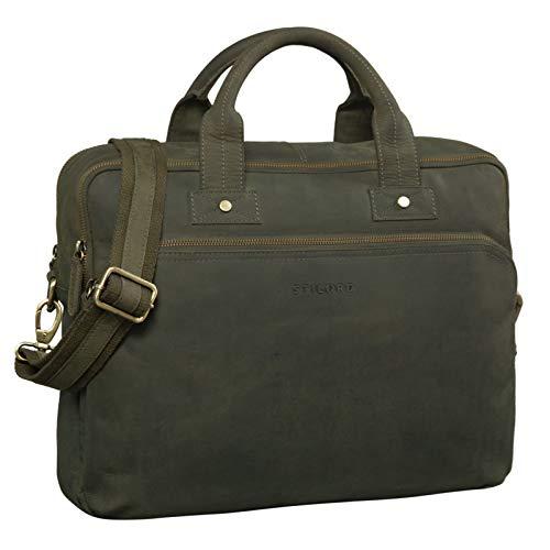 STILORD 'Hector' Große Business Ledertasche für Herren Vintage Umhängetasche mit 15.6 Zoll Laptop-Fach Leder Aktentasche DIN A4 im XL Format, Farbe:Oliv - braun