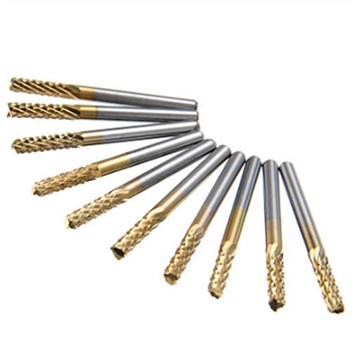 LKK-KK 10Pcs Coating End Mill CNC PCB Wood Engraving Drill Bit Set 1/8 inch Shank 3.175Mm Milling Cutter Power Tools