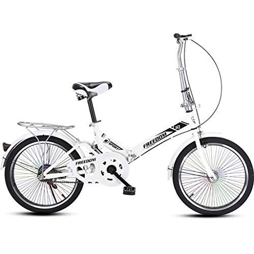 Tuuertge Bicicletas plegables de 20 pulgadas, mini portátil para estudiantes plegable para hombres y mujeres, bicicleta plegable ligera, absorción de golpes, ruedas coloridas (color blanco)