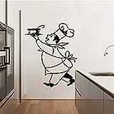 Pegatina de pared de Chef, decoración de cocina, sopa, calcomanía de cocina, pegatina de servicio de restaurante, vajilla, utensilios de cocina, pegatina de pared A3 57x73cm