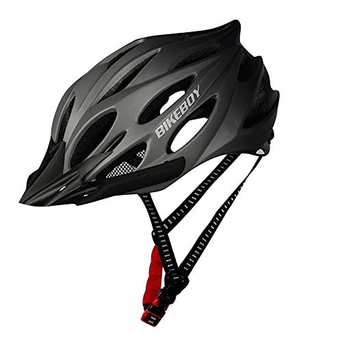 Fahrradhelm Herren Damen für Erwachsene, Unisex Fahrradhelm MTB Rennrad Mountainbike Sport Schutzhelm, EPS-Körper + PC-Schale, 54-61 cm Mountainbike Helm Herren & Damen Fahrrad Helm Integral (Schwarz)